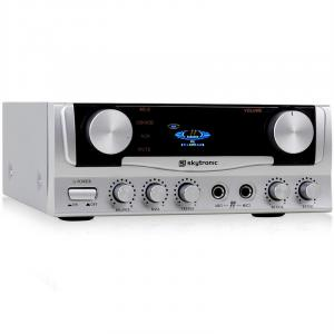 Mini Ampli PA HiFi Stereo Karaoke 2x entrée micro 400W Argent