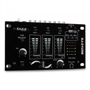 DJ-21 3/2-kanals mixer USB talkover party
