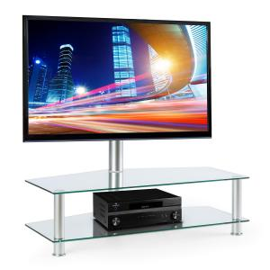 Home Cinema TV Stand Mount with Glass Shelf Cabinet Silver