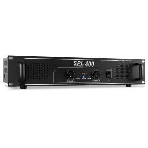 SPL400 Amplificador PA 1200W iluminación LED Negro | Ninguna selección | 2x 200 W (4 Ohm) / 2x 150 W (8 Ohm)