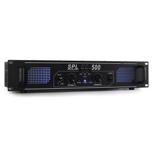 SPL500 DJ PA Huis versterker 500W LED Equalizer Zwart | Equalizer | 2x 250 W (4 Ohm) / 2x 200 W (8 Ohm)