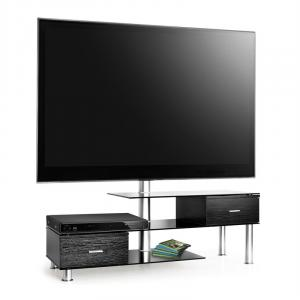 TV Table + LCD TV Bracket Mount Black Glass Sideboard
