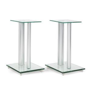 Dos soportes de vidrio y metal para altavoces.46cm