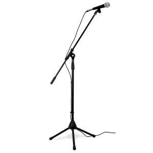 Zestaw mikrofon statyw trójnożny torba przewód XLR elast.