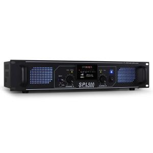 SPL-500 Amplificador PA 2 x 250W USB SD Negro | MP3-Player | 2x 250 W (4 Ohm)