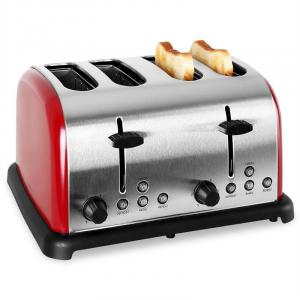 TK-BT-211-R Retro Toaster 4-slices Stainless Steel 1650W - Red Red