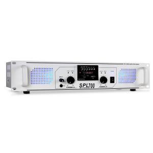 SPL-700 Amplificador PA DJ 700w MP3 USB SD Rádio Branco | MP3-Player | 2x 350 W (4 Ohm)