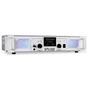 SPL-1000 Amplificador para DJ 1000W USB SD Radio Blanco | mp3_player | 2x 500 W (4 Ohm)