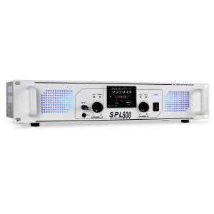 SPL500 Amplificador para DJ SD Blanco Blanco | MP3-Player | 2x 250 W (4 Ohm)