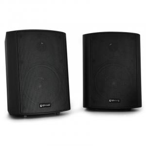 Pair QTX BC5A Wall Mountable Active Commercial Speaker Set 30W RMS Black