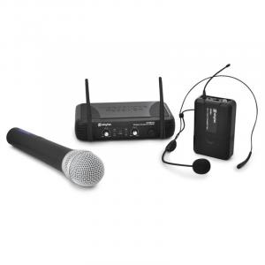 Set microfono wireless UHF, cuffie wireless Skytec STWM72