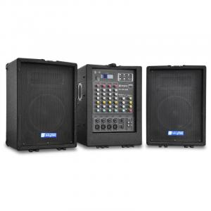 2 x 75 Watt RMS 2-Way Speaker Stereo Mixer Portable PA System USB SD