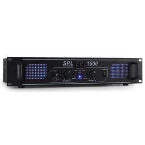SPL1500 Watt DJ PA Amplifier EQ Hi-Fi Audio Amp Black | Equalizer | 2x 750 W (4 Ohm) / 2x 500 W (8 Ohm)