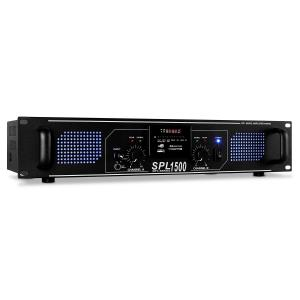 SPL-1500 Watt DJ PA Hifi Amplifier SD USB MP3 System Black | MP3-Player | 2x 750 W (4 Ohm) / 2x 500 W (8 Ohm)