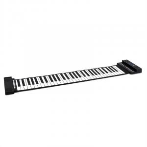 Stereo Piano Roll-up Keyboard com 61 teclas Preto