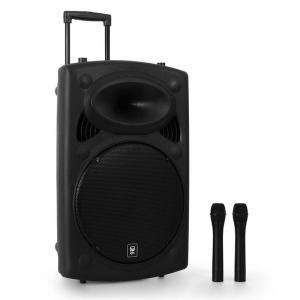 "QR15PA 15"" Active Portable PA Speaker System with Wireless Mics 250W"
