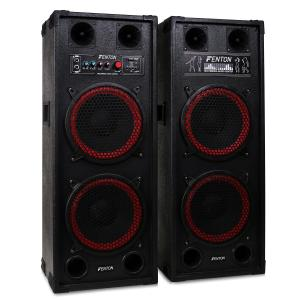 "SPB-210 Pair Dual 10"" Bass Master/Slave Powered PA Speakers USB SD MP3"