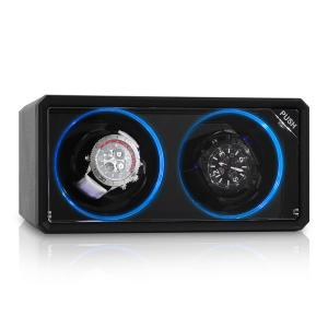 8LED2S horlogewinder 2 horloges zwart LED-effect