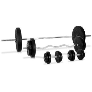 Dumbbell Set Barbell Curl Bar 14 x Weights 75kg - Plastic Coated