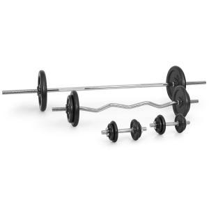 Set de musculation 18 poids : Haltères courts + barre droite +curl