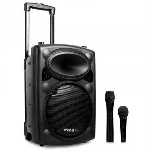 "PORT10VHF-BT 500W 10"" Portable PA Speaker MP3 Bluetooth USB SD + Mics Black 