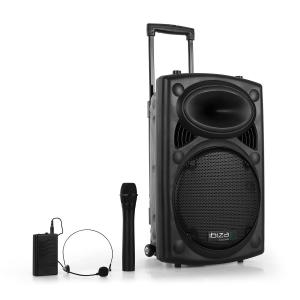 "Port12VHF-BT Portable 12"" PA Speaker USB SD AUX MP3 Bluetooth Black 