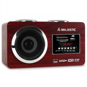 AH 173 Portable Multimedia Stereo System USB SD AUX Brown