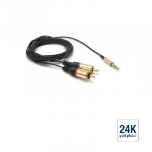 audio connection cable Connector 3.5 jack / 2 x RCA / Blue, 1.8 m