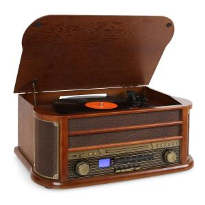 Belle Epoque 1908 Aparelhagem Retro USB CD MP3 Vinil Castanho | CD-Player