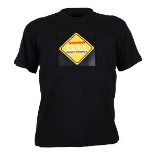 T-Shirt LED 3-Cores Warning Party People Design tamanho XL