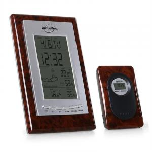 SM 121 Compact Weather Station Outdoor/Indoor External Sensor Wooden Finish