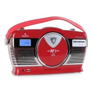 RCD-70 retroradio FM USB CD batteri Röd