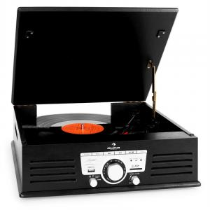 TT-92B Record Player Turntable Built-in Speakers USB SD AUX FM Black Black