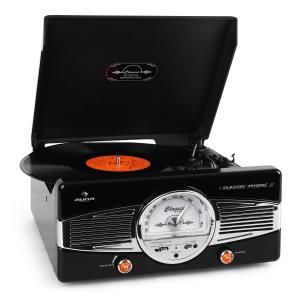 MG-TT-82B Retro '50s Record PlayerTurntable FM Radio Black Black
