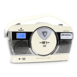 RCD-70 Retro Vintage Portable Radio FM CD/MP3 USB Battery - Cream Creme