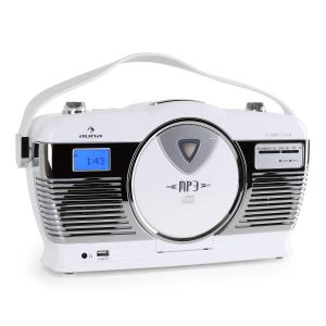 RCD-70 Retro Vintage Portable Radio FM CD/MP3 USB Battery - White White