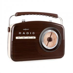 NR-12 Retro 50s Portable Radio AM/FM Dark Brown/Beige