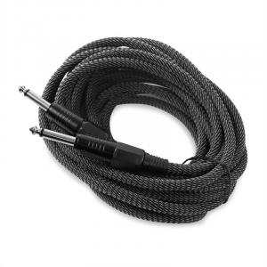 6,35mm-plugijohto 6m mono tekstiilipäällyste musta-valkoinen