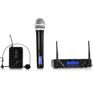 UHF 450 Duo UHF Wireless Microphone Set 2-Channel 1 x Handheld / 1 x Headset-Microphone