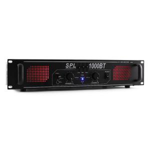 SPL 1000BT Hifi-PA-versterker Bluetooth AUX LED EQ 1000W Zwart | Equalizer / Bluetooth | 2x 500 W (4 Ohm) / 2x 350 W (8 Ohm)