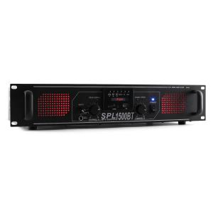 SPL 1500BTMP3 Hifi-PA-versterker Bluetooth USB SD MP3 AUX UKW LED 1500W Zwart | Equalizer / Bluetooth | 2x 750 W (4 Ohm) / 2x 500 W (8 Ohm)
