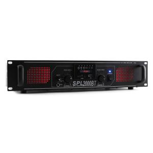 SPL 2000BTMP3 Hifi-PA-versterker bluetooth USB SD MP3 AUX FM LED 2000W Zwart | Equalizer / Bluetooth | 2x 1000 W (4 Ohm) / 2x 750 W (8 Ohm)
