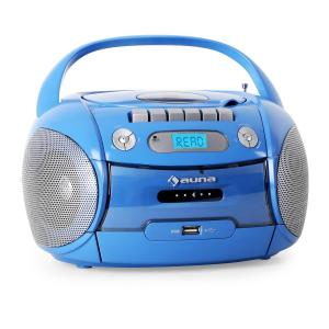 Boomboy Portable Boombox CD Cassette Player USB MP3 Blue