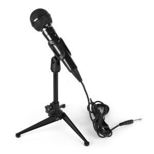 Micrófono dinámico karaoke en negro con soporte de mesa