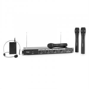VHF4 4-Channel Wireless Microphone Set 3 x Microphone 1 x Headset 60m