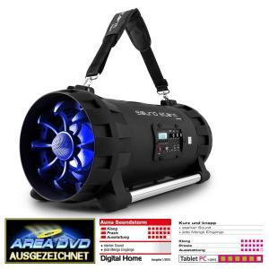 Soundstorm Ghettoblaster Bluetooth NFC USB AUX batterij Karaoke LED-licht Blauw
