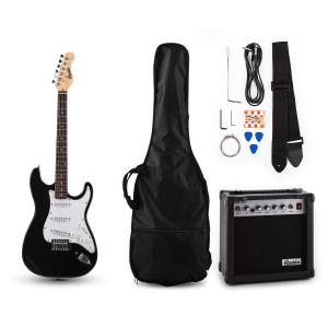 RC200 Electric Guitar & Amp Set Stratocaster Style Black