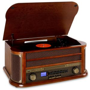Belle Epoque 1908 -retrostereojärjestelmä Bluetooth USB CD MP3 ruskea | CD-Player / Bluetooth