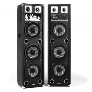 "BSX-238A Karaoke PA Speakers USB microSD AUX MIC 200W Black 2x 30 cm (12"")"