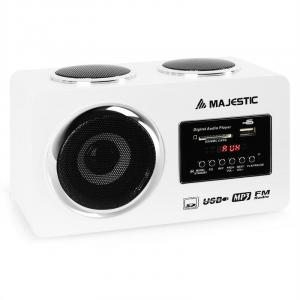 AH 173 Portable Multimedia Stereo System USB SD AUX White